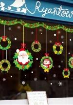 Decal 2 Mặt Dây Treo Ông Già Noel Và Vòng Nguyệt Quế
