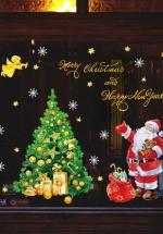 Decal Trang Trí Noel Ông Già Santa Và Cây Thông