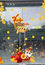 Combo Decal Trang Trí Tết Xuân Tân Sửu 2021 Mẫu 2