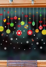 Decal 2 Mặt Trang Trí Noel Dây Treo Quả Châu Sắc Màu