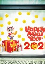 Decal Trang Trí Tết Tân Sửu Phát Tài 2021