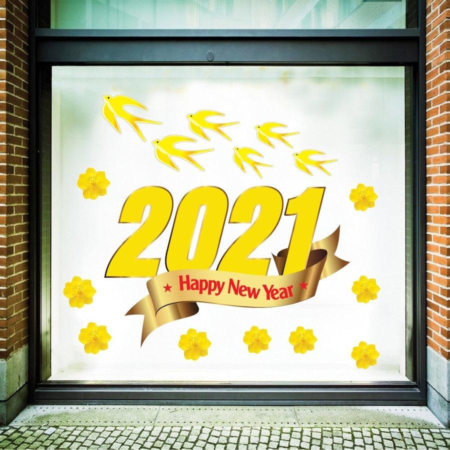Decal Trang Trí Tết Happy New Year 2021 Tân Sửu