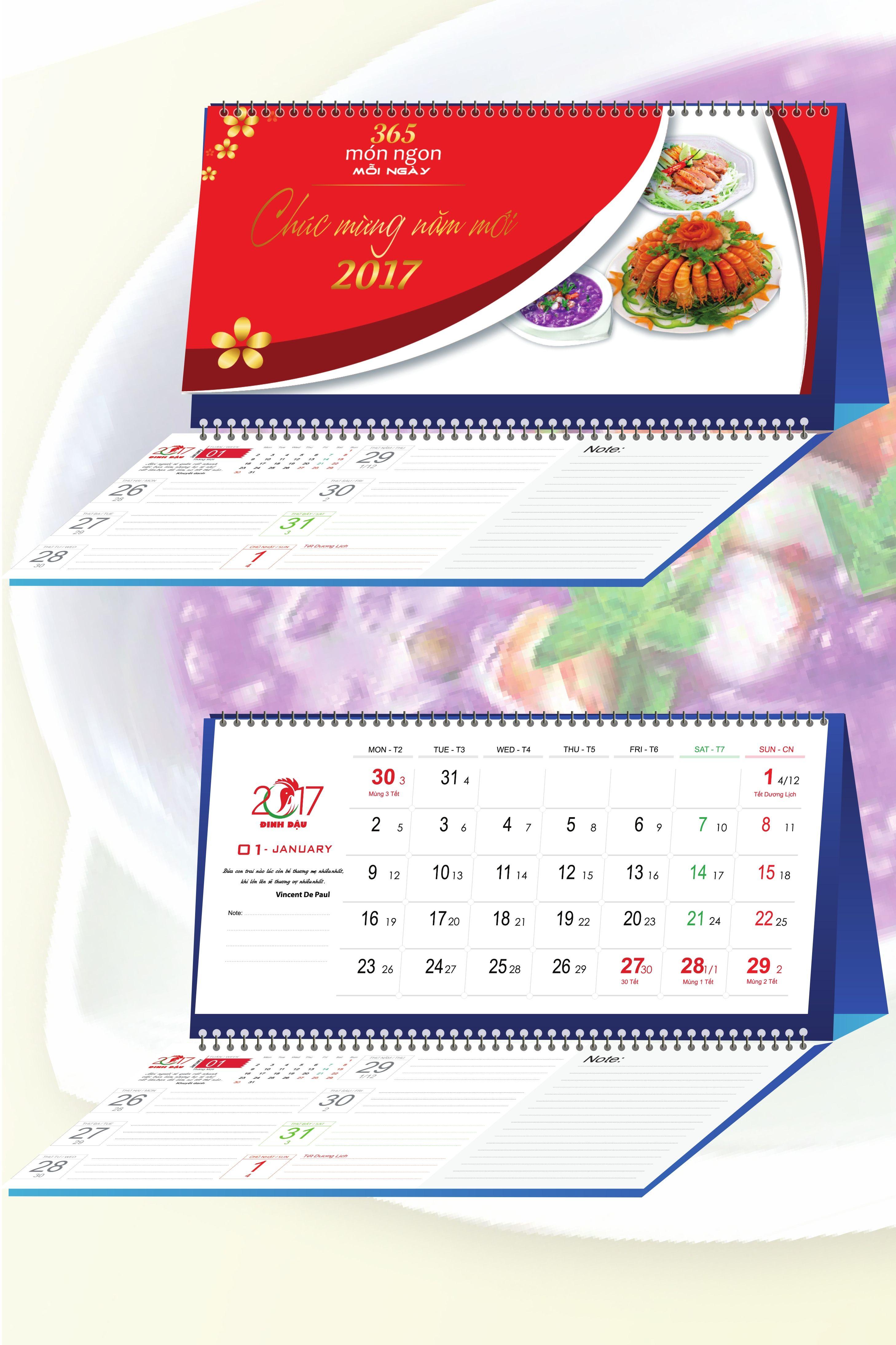 Lịch Để Bàn Chữ M 2017 - 365 Món Ngon Mỗi Ngày 2 - EBOOK/PDF/PRC/EPUB