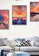 Tranh Treo Tường Phong Cảnh Biển Hoàng Hôn Đỏ