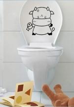 Decal Dán Toilet Chú Bò Đen Xinh Xắn