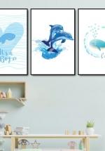 Tranh Canvas Treo Tường Những Chú Cá Voi Dễ Thương