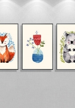 Tranh Canvas Treo Tường Cáo Và Gấu Nhỏ