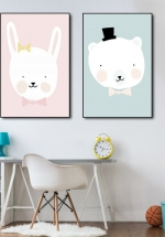 Tranh Canvas Treo Tường Gấu Và Thỏ
