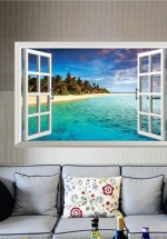 Decal Cửa Sổ 3D Bãi Biển Bờ Cát Trắng