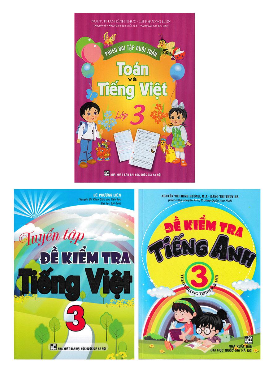 Combo Đề Kiểm Tra Toán - Tiếng Việt - Tiếng Anh Lớp 3 (Bộ 3 Cuốn)