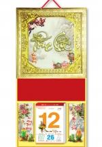 KV50 - Bìa Treo Lịch 2018 Da Simili Dán Chữ Nổi (35 x 70cm) -  Khung vàng, Dán Chữ Phúc Lộc Đầu Rồng Nhỏ
