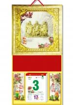 KV56 - Bìa Treo Lịch 2018 Da Simili Dán Chữ Nổi (35 x 70cm) - Khung vàng, Dán Hình Phúc Lộc Thọ