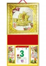 KV58 - Bìa Treo Lịch Da Simili Dán Chữ Nổi (35 x 70cm) - Khung vàng, Dán Nỗi Hình Thuyền Rồng