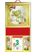 KV48 - Bìa Lịch Treo Tường 2018 Da Simili Dán Chữ Nổi (35 x 70cm) -  Khung Vàng, Dán Chữ Thọ Đầu Rồng