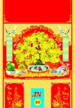 Bìa Đỏ Dán Bloc 2018 MS40 (35x60 cm) - Mai Vàng