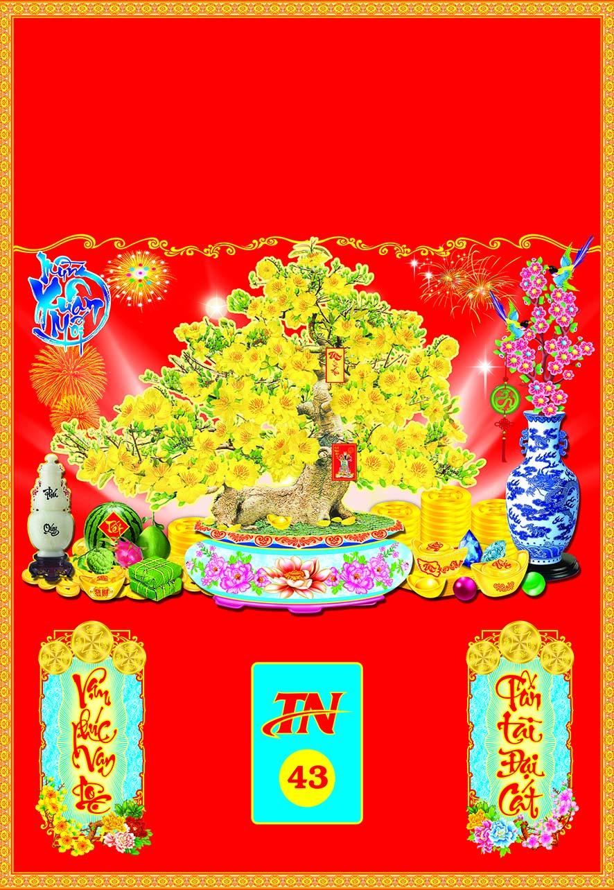 Bìa Đỏ Dán Bloc 2018 MS43 (35x50 cm) - Chậu Mai - EBOOK/PDF/PRC/EPUB