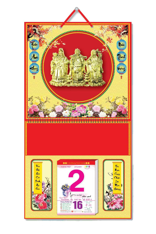 KV132 - Bìa 2018 Treo Lịch Lò Xo Giữa Dán Chữ Nổi (37 x 68 cm) - Hoa, Dán Hình Phúc Lộc Thọ - EBOOK/PDF/PRC/EPUB
