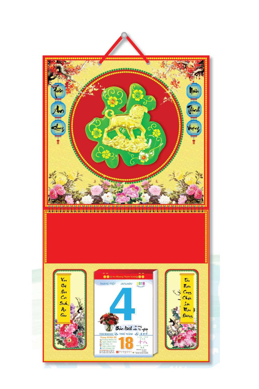 KV133 - Bìa 2018 Treo Lịch Lò Xo Giữa Dán Chữ Nổi (37 x 68 cm) - Hoa, Dán Chữ Phước Hình Chó - EBOOK/PDF/PRC/EPUB