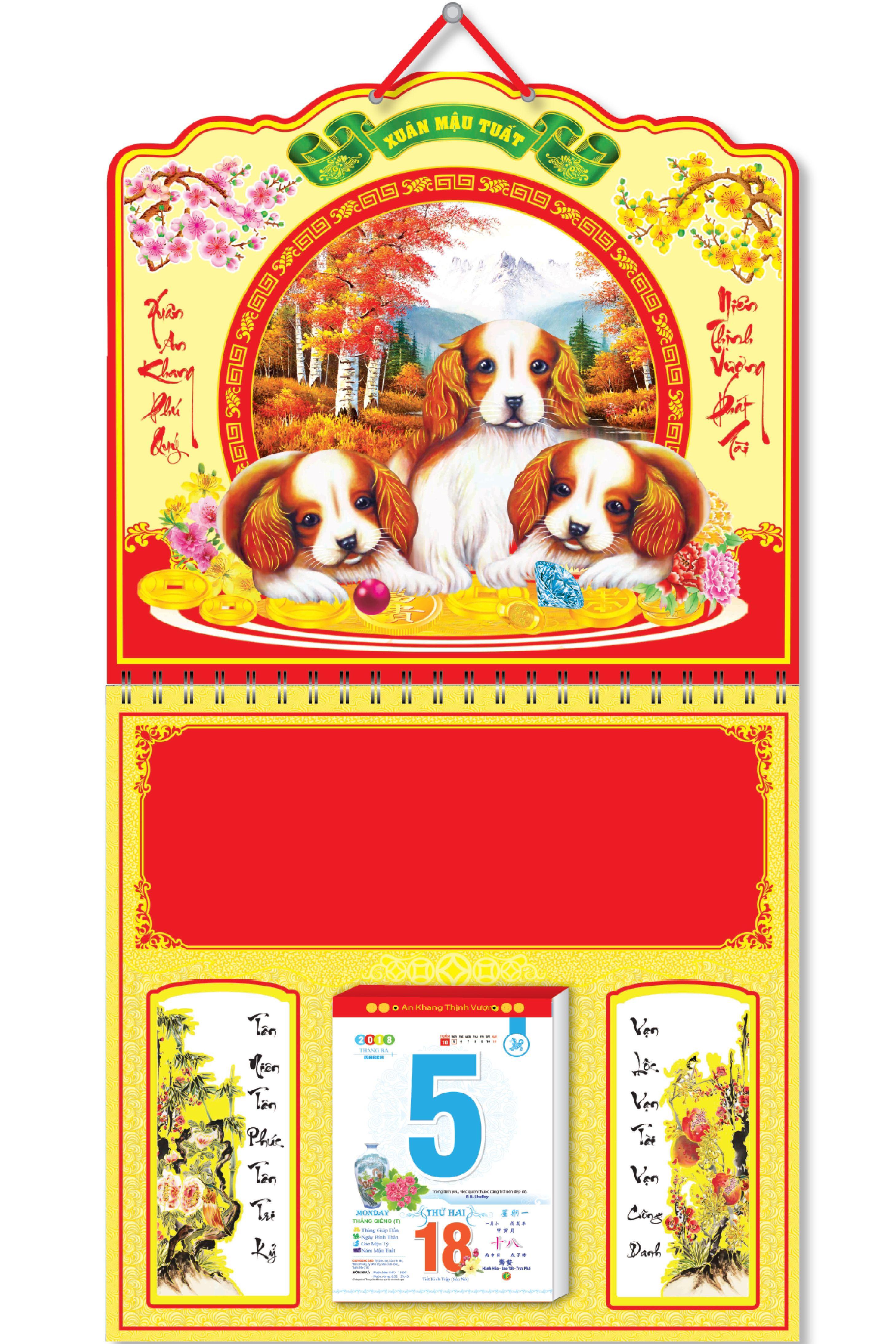KV217 - Bìa Treo 2018 Lịch Lò Xo Giữa Bế Nổi (37 x 68 cm) - Chó Vui Vẻ