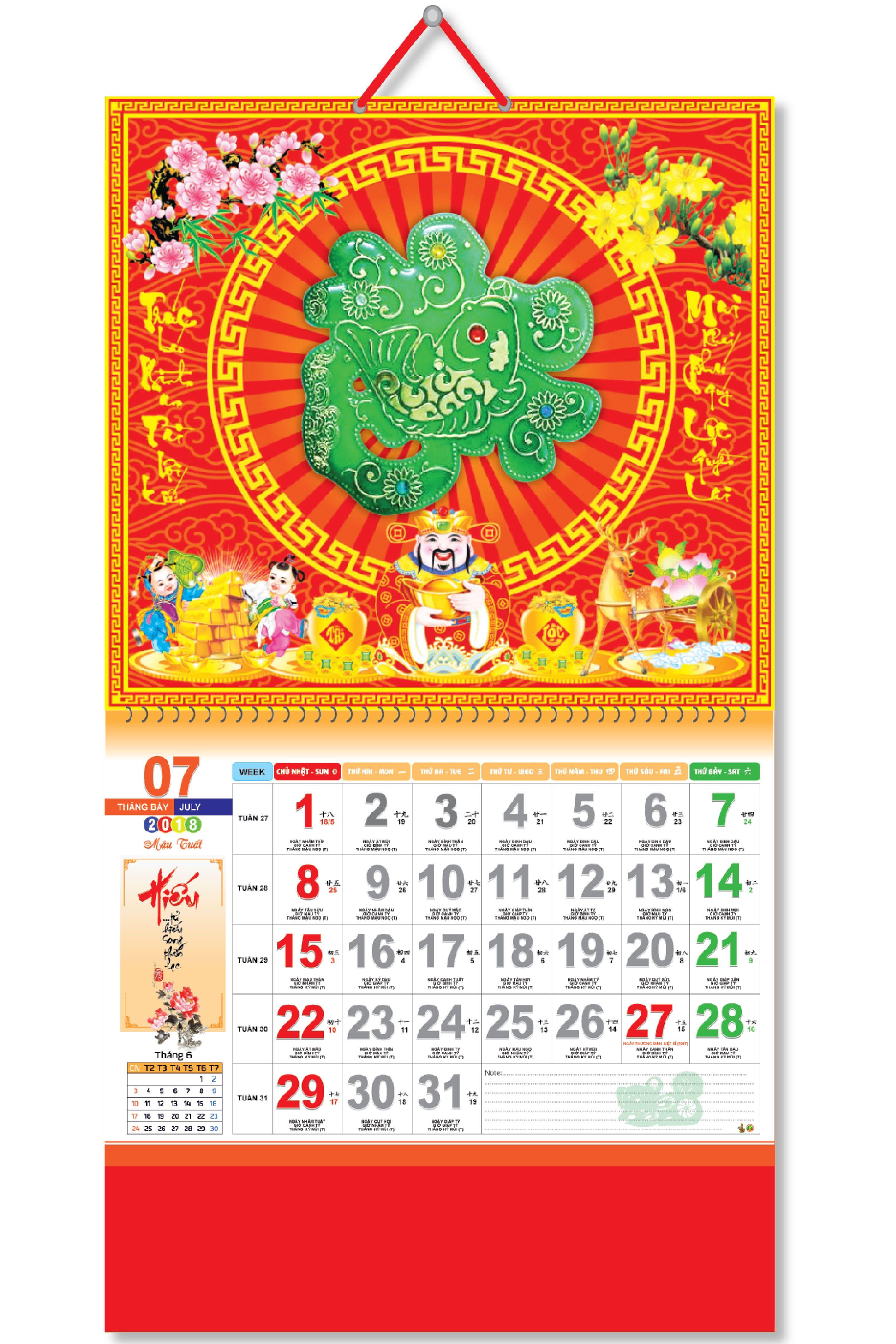 KV239 - Bìa Treo Lịch 2018 Lò Xo Giữa Gắn Bộ Số Dán Chữ Nổi (37 x 68 cm) - Thần tài, Dán Nổi Chữ Phước Cẩm Thạch