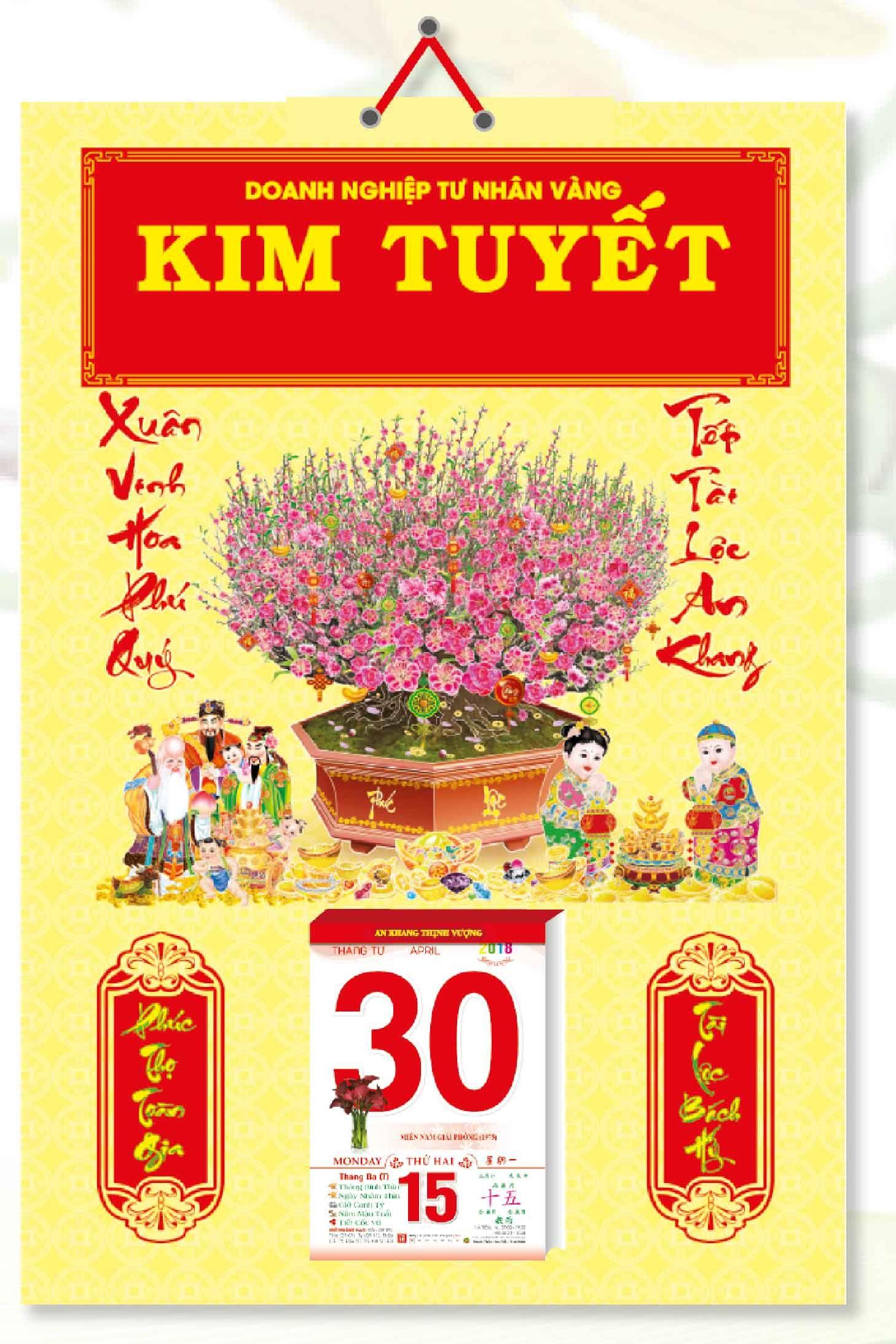 KV345 - Bìa Treo Lịch 2018 Đỏ Bế Nổi (40 x 60 cm) - Bế Nổi Chậu Đào